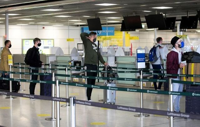 Passengers at a near-empty Dublin Airport on July 2, 2020.