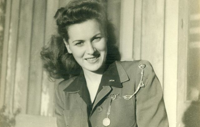 The Hollywood star, Maureen O\'Hara, at Camp Pendleton, in 1945.