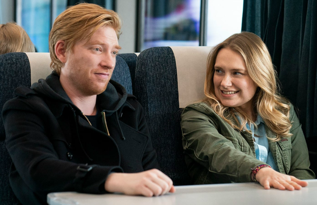 Domhnall Gleeson and Merritt Wever in HBO\'s Run.