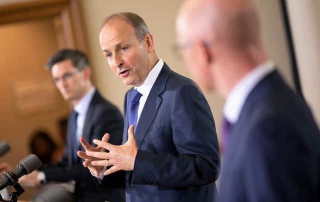 Acting Chief Medical Officer Dr. Ronan Glynn, Taoiseach Micheal Martin, and Minister for Health Stephen Donnelly at the press briefing on July 15, 2020.