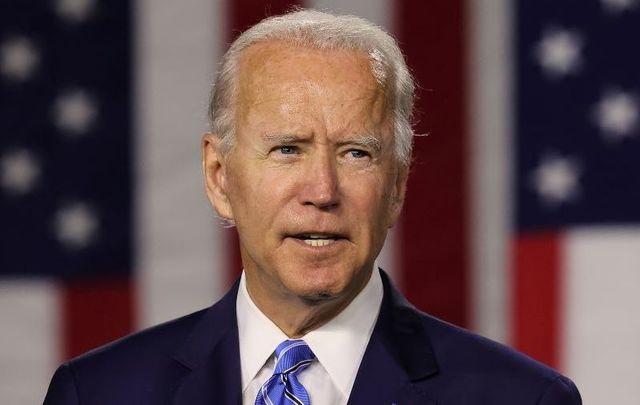 Joe Biden speaks at the Chase Center July 14, 2020 in Wilmington, Delaware. Biden delivered remarks on his campaign\'s \'Build Back Better\' clean energy economic plan.