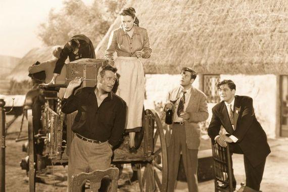 Still from the Quiet Man featuring John Wayne and Maureen O\'Hara.
