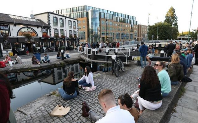 Concerns have been raised over the lack of social distancing outside pubs in Dublin, including the Barge on Dublin\'s Grand Canal.