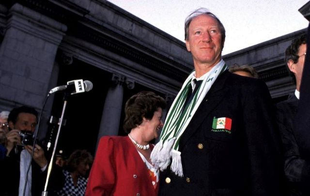July 1, 1990: Jack Charlton at the Dublin homecoming for Ireland\'s national football team.