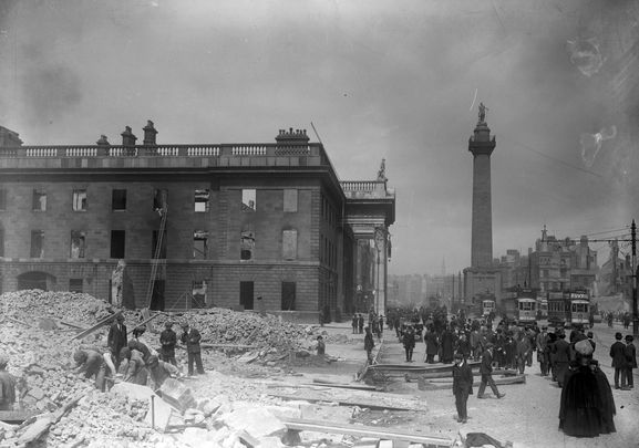 The shell of the General Post Office after the Easter Rising 1916.