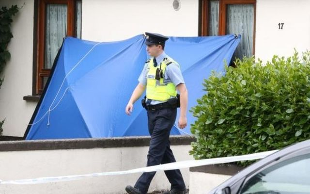 A member of An Garda Síochána patrols Whitechapel Road, where the 77-year-old was brutally stabbed to death.