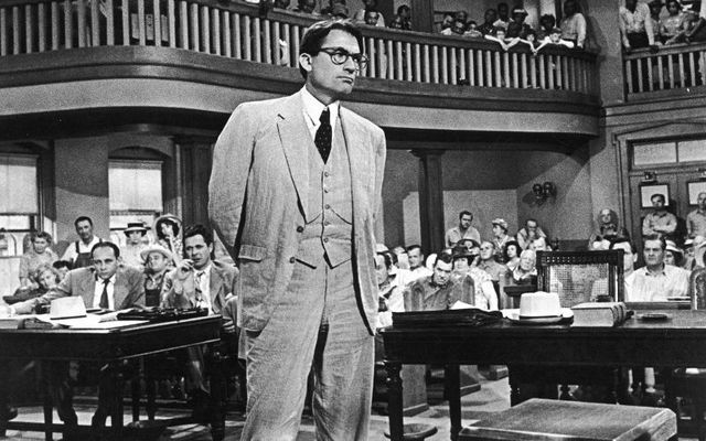Gregory Peck as Atticus Finch in the film adaptation of To Kill a Mockingbird.