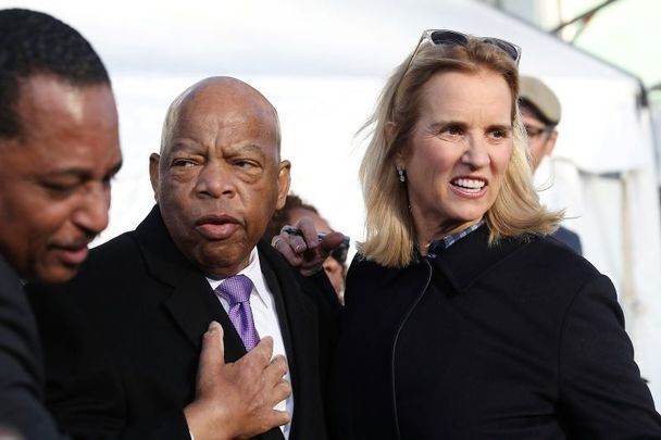 John Lewis (D-GA) and Kerry Kennedy attend a ceremony at Lorraine Motel, where Dr. King was murdered, on the 50th anniversary of his assassination, April 4, 2018 in Memphis, Tennessee.