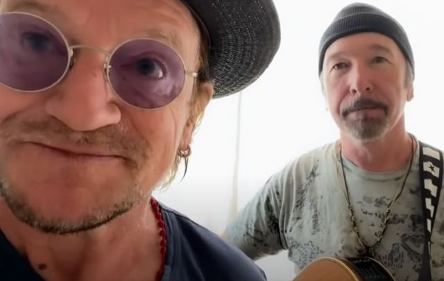 "Bono and The Edge performed an acoustic version of ""Stairway to Heaven\"" as a thank you to their dedicated road crew."