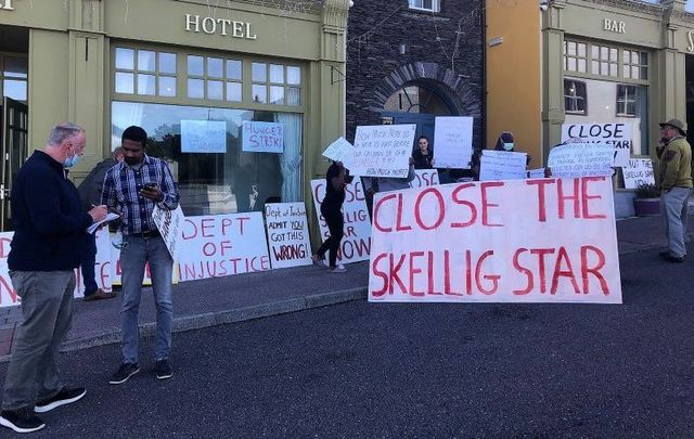 The scene outside of the Skellig Star Direct Provision Centre in Co Kerry on July 28, when asylum seekers mounted a hunger strike.