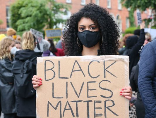 A protester at the Dublin Black Lives Matter protests in the wake of George Floyd\'s killing.