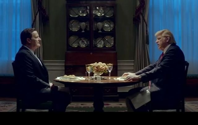 Jeff Daniels as James Comey and Brendan Gleeson as Donald Trump in \'The Comey Rule.\'