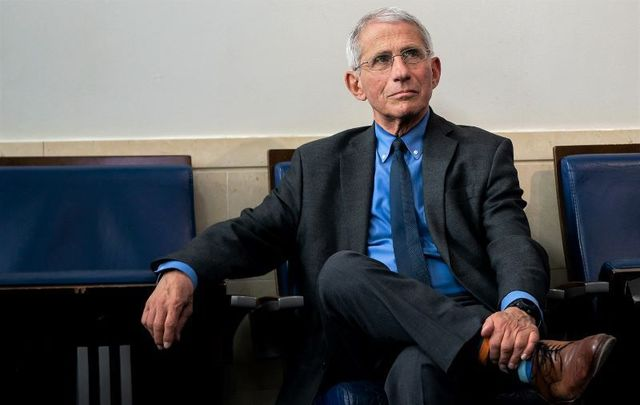 Dr. Anthony S. Fauci attends a coronavirus update briefing Tuesday, April 7, 2020, in the James S. Brady Press Briefing Room of the White House.