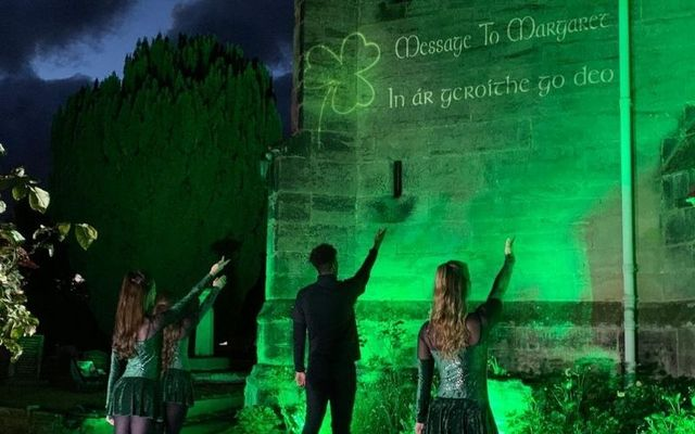 St. Giles Church in Coventry was lit up with a well-known Irish phrase on Wednesday night.