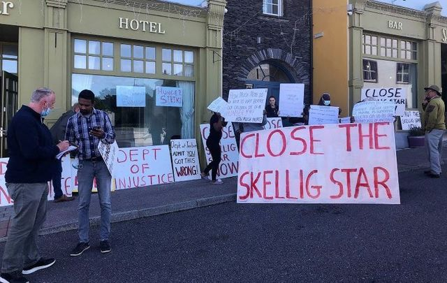 The scene outside of the Skellig Star Direct Provision Centre in Cahersiveen, Co Kerry on July 28 when asylum-seekers residing there mounted a hunger strike.