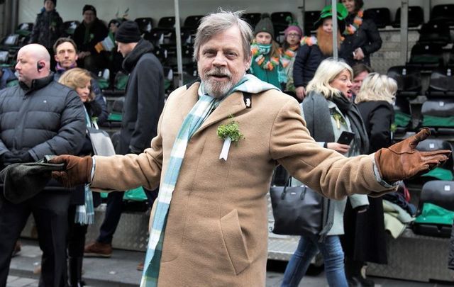 Mark Hamill pictured here at the 2018 Dublin St. Patrick\'s Day Parade where he was a guest of honor.