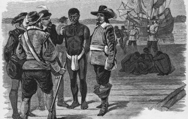 Engraving, titled \'Introduction of Slavery,\' shows a group of well-dressed men as they stand on a dock and examine a slave dressed in a loincloth, probably Jamestown, Virginia, late 1610s.