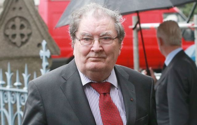 August 25, 2014: John Hume arrives at the Church of the Sacred Heart in Donnybrook, Dublin, for the funeral mass of former Taoiseach Albert Reynolds.