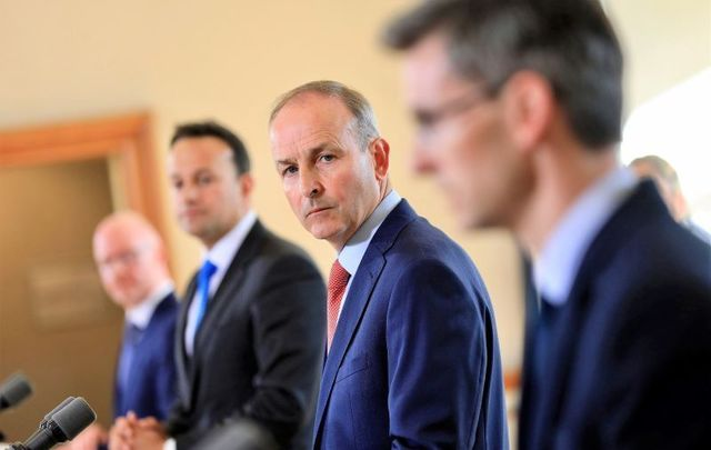 August 4, 2020: Taoiseach Micheál Martin, Tánaiste Leo Varadkar, Minister for Health Stephen Donnelly, and Acting CMO Dr.Ronan Glynn at the Post Cabinet Press Briefing in Dublin Castle.