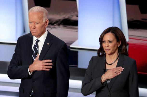 Joe Biden and Kamala Harris at the Democratic Presidential Debate at the Fox Theatre July 31, 2019, in Detroit, Michigan.