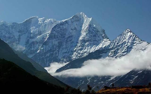 Thamserku in view from Namche Bazar in the Solu Khumbu (Everest) region in Nepal.