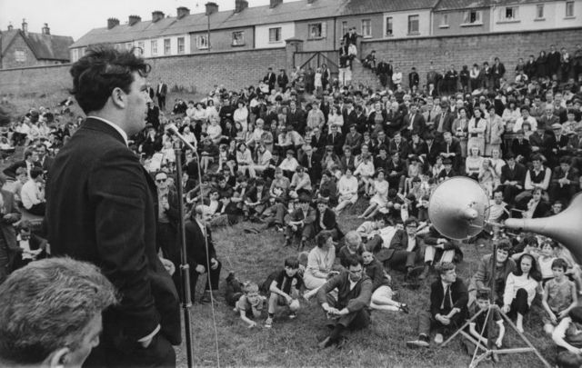 August 10, 1969: John Hume addresses a Catholic meeting at the Celtic Park football ground in Derry before a parade by the Protestant Apprentice Boys of Derry.