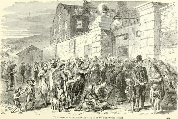 People outside a workhouse during the Great Famine.