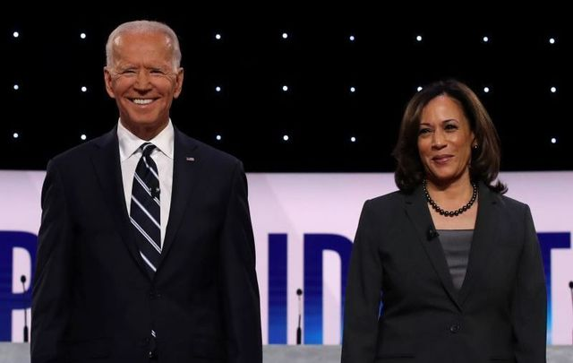 July 31, 2019: Joe Biden and Kamala Harris take the stage at the Democratic Presidential Debate at the Fox Theatre in Detroit, Michigan.