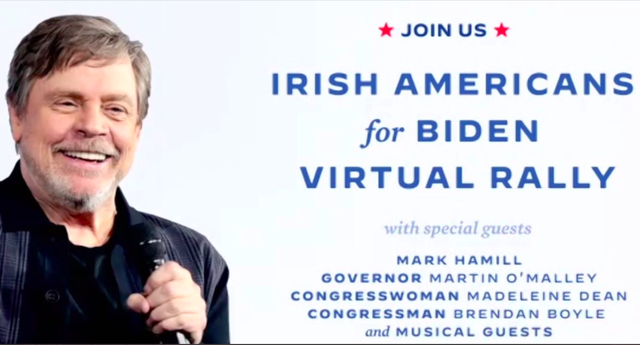 The promo for the Irish Biden rally, featuring Star Wars actor, Mark Hamill.
