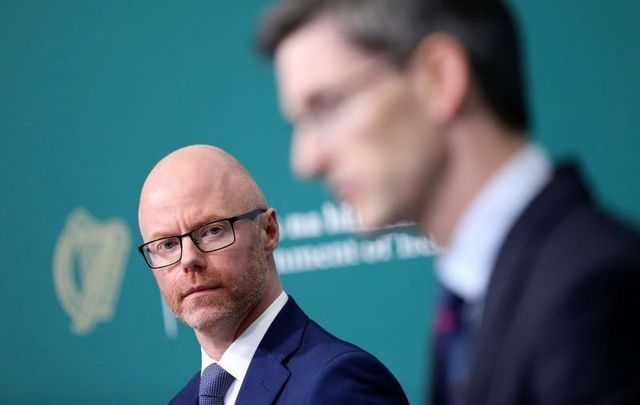 Ireland\'s Minister for Health Stephen Donnelly and Ireland\'s acting Chief Medical Officer Dr. Ronan Glynn during a press briefing on August 21, 2020.