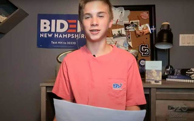 Brayden Harrington,13, from New Hampshire, spoke at the 2020 Democratic National Convention about how presidential candidate and fellow stutterer Joe Biden inspired him.