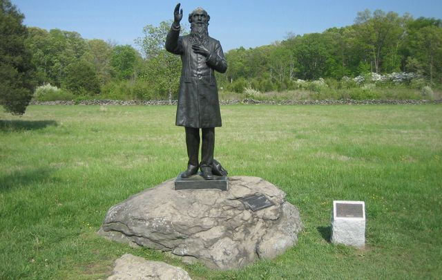 A statue dedicated to Father William Corby at Gettysburg.
