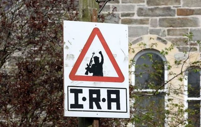 A sign in Derry supporting the IRA, photographed in 2019 after the murder of journalist Lyra McKee at the hands of the New IRA.