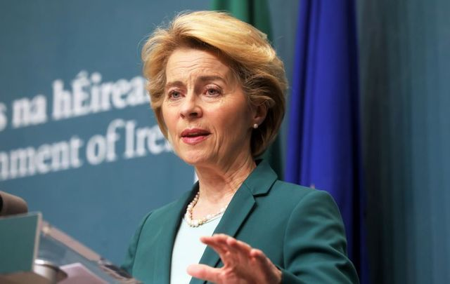 January 15, 2020: President of the European Commission Ursula von der Leyen speaking at government buildings during a visit to Ireland.