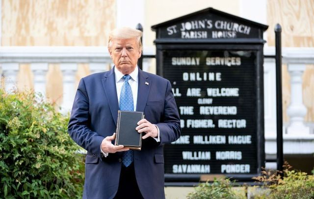 June 1, 2020: President Trump holds a bible outside of St. John's Episcopal Church in Washington, DC.