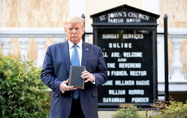 June 1, 2020: President Trump holds a bible outside of St. John's Episcopal Church in Washington, DC.