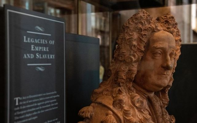 The bust of Sir Hans Sloane in its new cabinet in the British Museum.