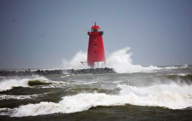 November 28, 2018: High seas and waves created by Storm Diana pound the Poolbeg Lighthouse on Dublin\'s South Wall.