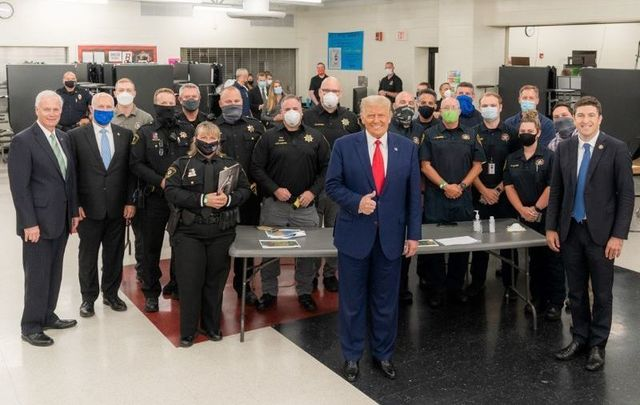 September 1, 2020: President Donald Trump joined by Rep. Bryan Steil, R- Wis., Senator Ron Johnson. R-Wis, and law enforcement officials as he concludes his tour at the emergency operation center at Mary D. Bradford High School in Kenosha, Wisconsin.