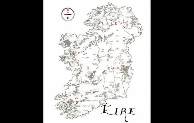 "Isaac Dushku\'s stunning map of Ireland in the style of ""Lord of the Rings\"" author J. R. R. Tolkien."