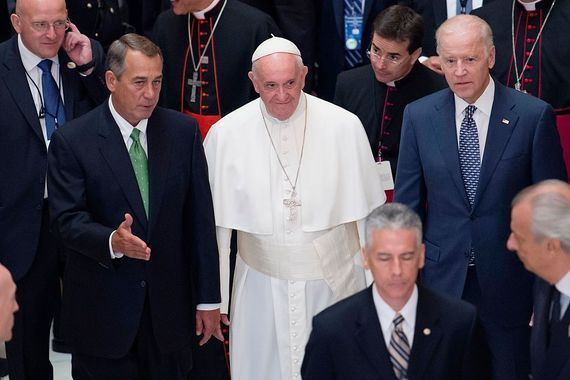 Presidential hopeful Joe Biden with Pope Francis.
