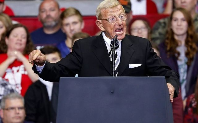 Lou Holtz speaking a Republican rally last year.