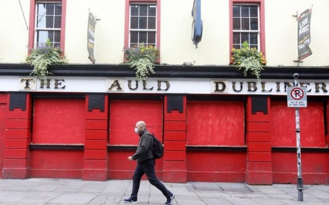 A Dublin pub remains closed during COVID-19 lockdown.