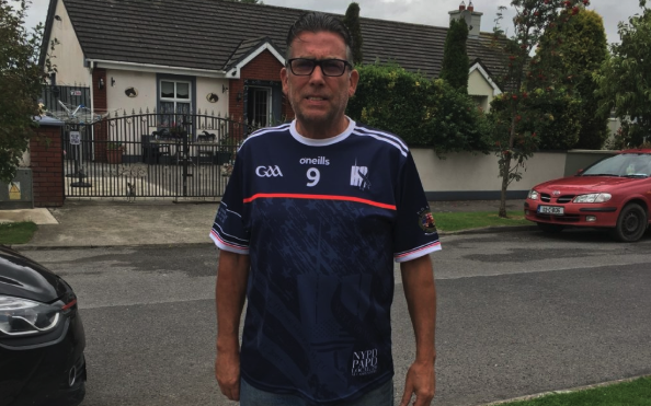Michael Burke sporting the specially commissioned 9/11 O\'Neill\'s GAA jersey.