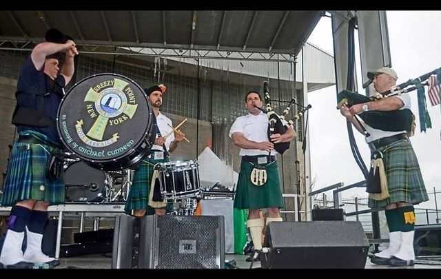The Breezy Point Pipe Band performing at the 33rd Great Irish Fair in Brooklyn, NY.