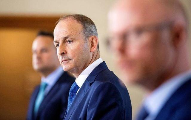 "September 15, 2020: Tanaiste Leo Varadkar, Taoiseach Micheal Martin, and Minister for Health Stephen Donnelly announce the new \""Framework for Restrictive Measures.\"""