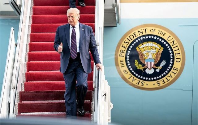 September 15, 2020: President Trump disembarks Air Force One at Philadelphia International Airport in Philadelphia.