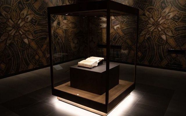 The Book of Kells in its new display case in Trinity College Dublin.