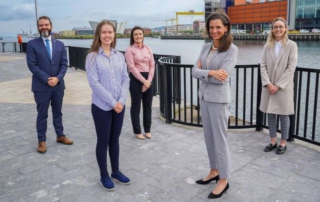 Bryan Patten, Executive Director, Washington Ireland Program; Roisin Muirhead, participant; Sophie Carlisle, participant; Elizabeth Kennedy Trudeau, U.S. Consul General; Christine Crossan, participant.