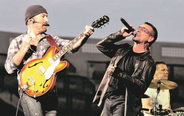 U2 rocking out at Dublin\'s Croke Park in 2009.